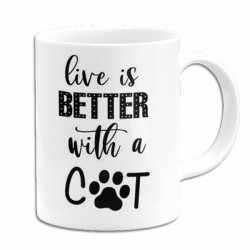 mug personnalisé live is better with cat