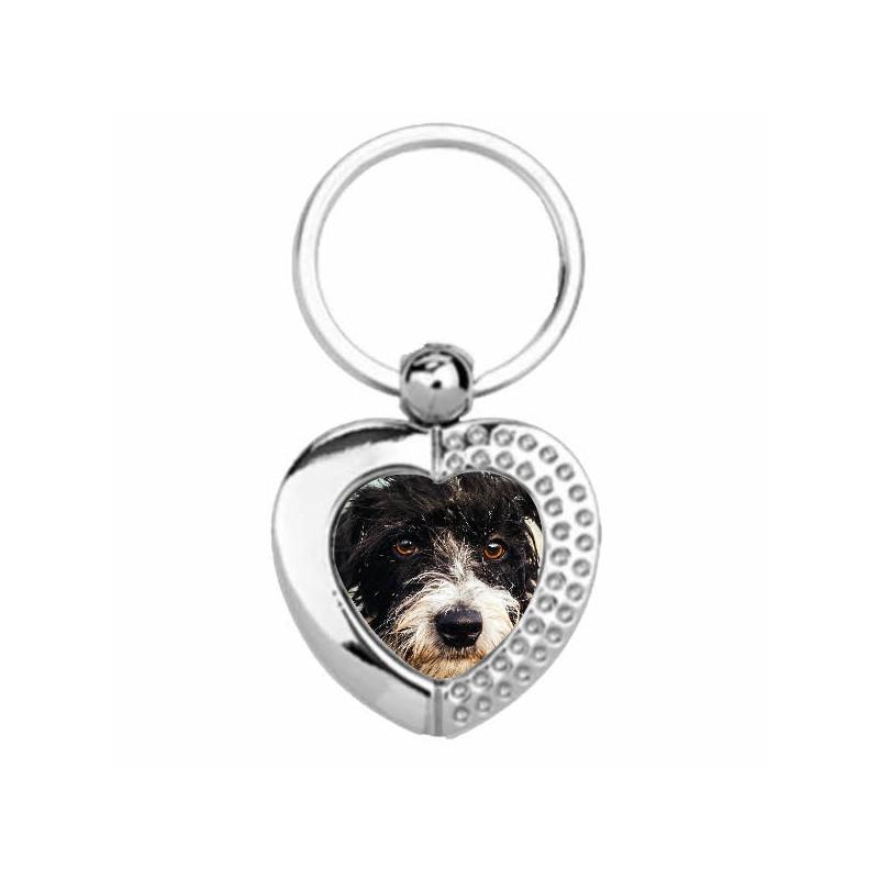 porte clef en forme de cœur avec foto