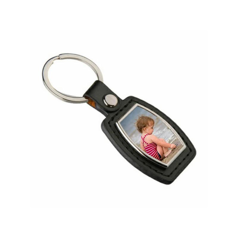 Porte clés simili cuir losange personnalisable