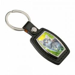 Porte clés simili cuir losange avec photo